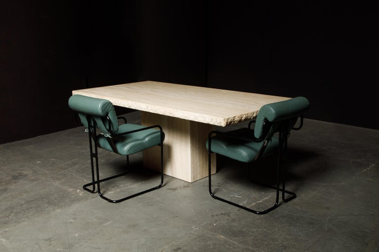 Live Edge Travertine Dining Table by Stone International, Italy, 1980s, Signed For Sale 6