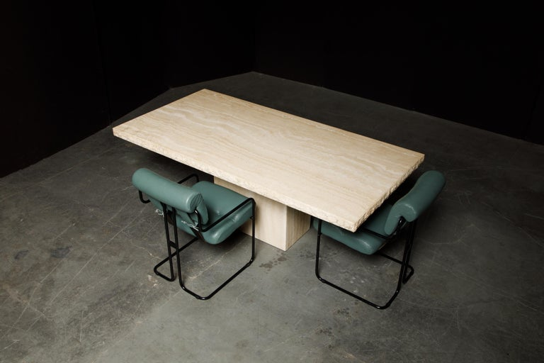 Live Edge Travertine Dining Table by Stone International, Italy, 1980s, Signed For Sale 7