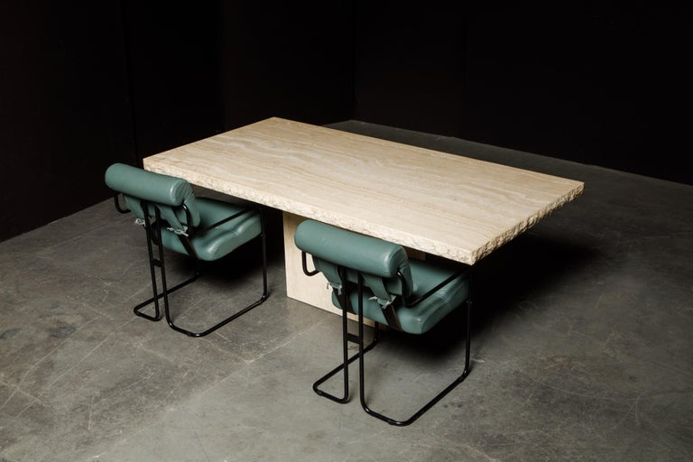 Live Edge Travertine Dining Table by Stone International, Italy, 1980s, Signed For Sale 9