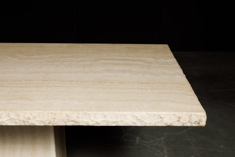 Live Edge Travertine Dining Table by Stone International, Italy, 1980s, Signed For Sale 10