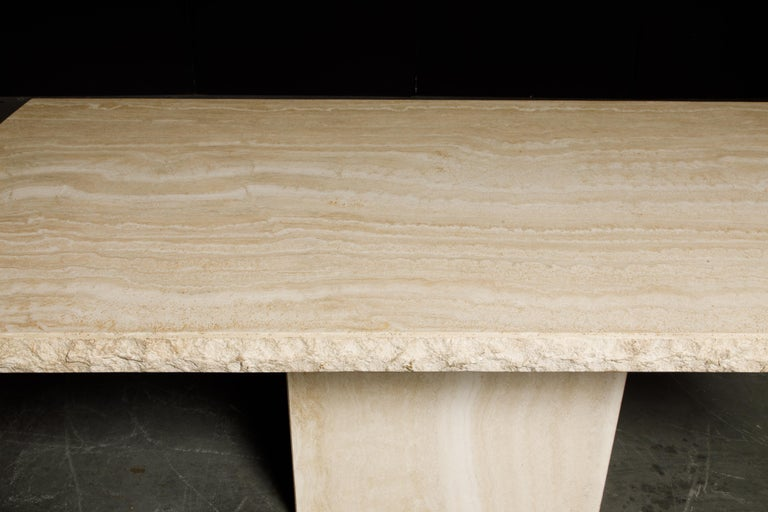 Live Edge Travertine Dining Table by Stone International, Italy, 1980s, Signed For Sale 11