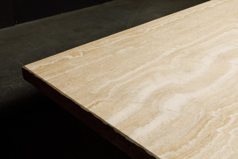 Live Edge Travertine Dining Table by Stone International, Italy, 1980s, Signed For Sale 12