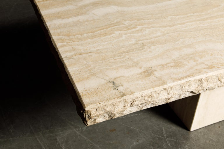 Live Edge Travertine Dining Table by Stone International, Italy, 1980s, Signed For Sale 13
