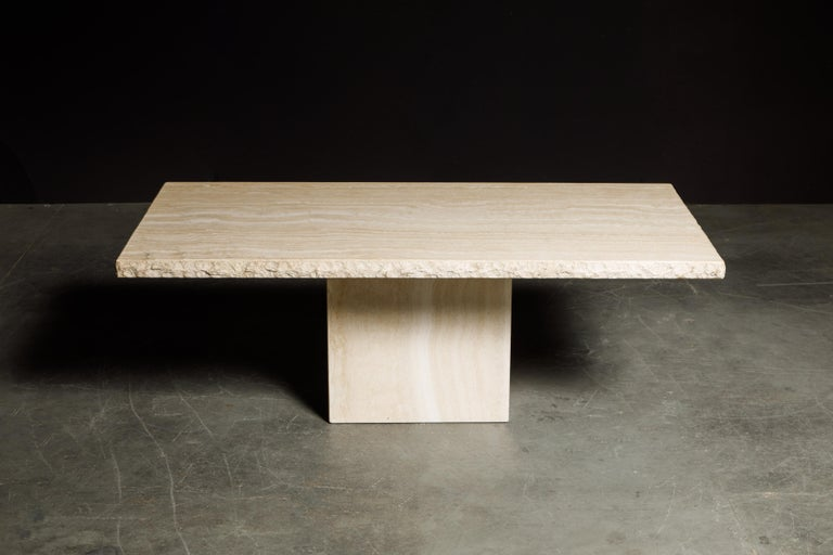 Modern Live Edge Travertine Dining Table by Stone International, Italy, 1980s, Signed For Sale