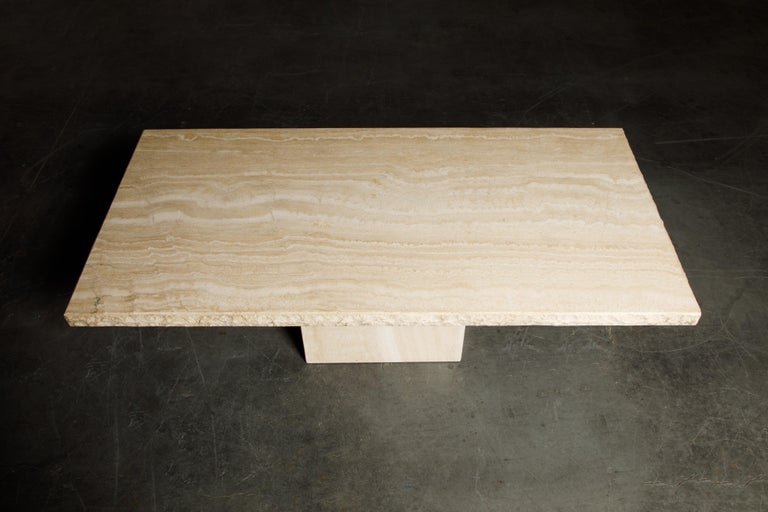 Italian Live Edge Travertine Dining Table by Stone International, Italy, 1980s, Signed For Sale