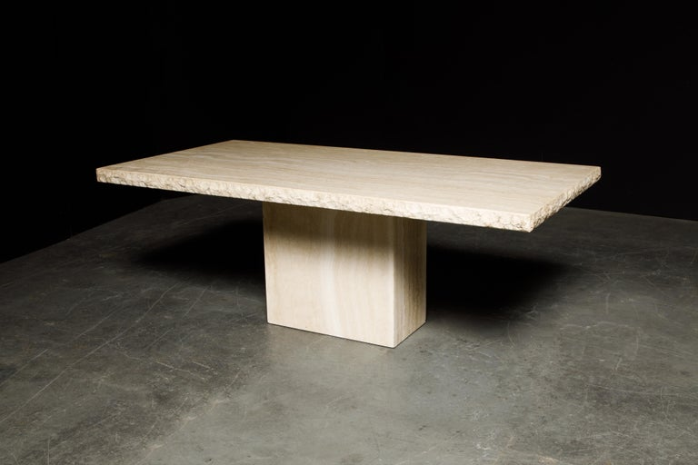 Live Edge Travertine Dining Table by Stone International, Italy, 1980s, Signed In Good Condition For Sale In Los Angeles, CA