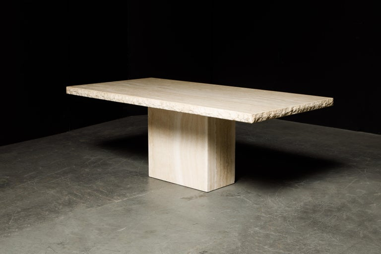 Late 20th Century Live Edge Travertine Dining Table by Stone International, Italy, 1980s, Signed For Sale