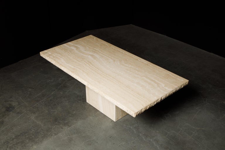 Live Edge Travertine Dining Table by Stone International, Italy, 1980s, Signed For Sale 1