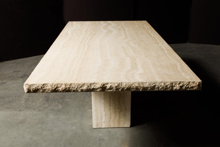 Live Edge Travertine Dining Table by Stone International, Italy, 1980s, Signed For Sale 2