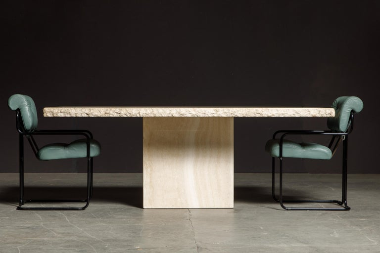 Live Edge Travertine Dining Table by Stone International, Italy, 1980s, Signed For Sale 3