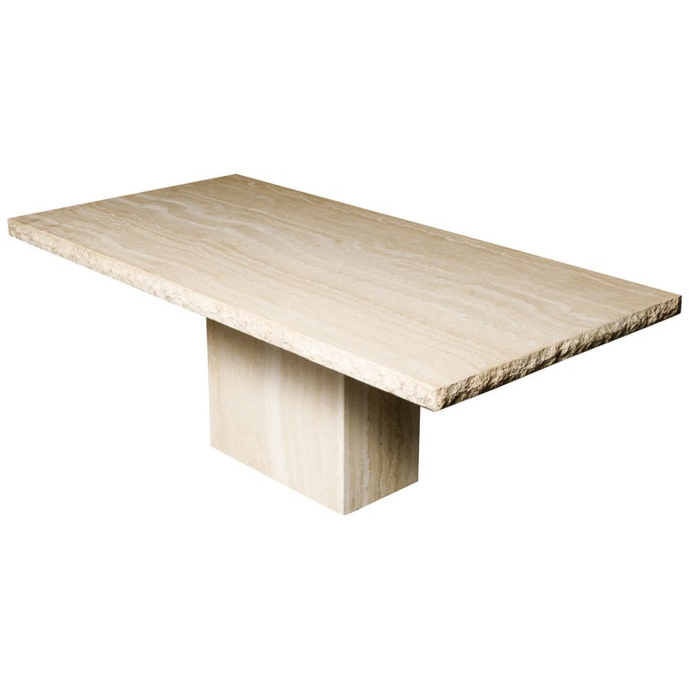 Live Edge Travertine Dining Table by Stone International, Italy, 1980s, Signed For Sale