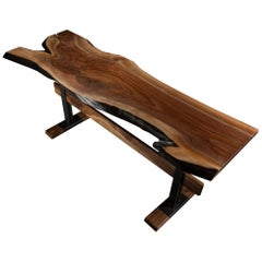 "Live Edge Walnut Console Table on Black Steel Base ""Cadieux Table"""