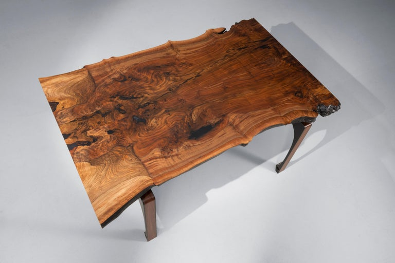 Organic Modern Live Edge Walnut Dining Table with Solid Walnut Legs