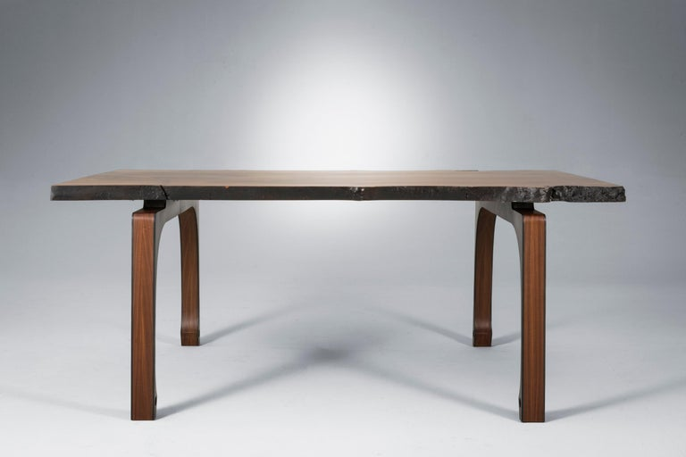 American Live Edge Walnut Dining Table with Solid Walnut Legs