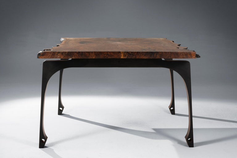Metalwork Live Edge Walnut Dining Table with Solid Walnut Legs