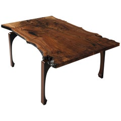 "Live Edge Walnut Dining Table with Solid Walnut Legs ""Gladstone Dining Table"""