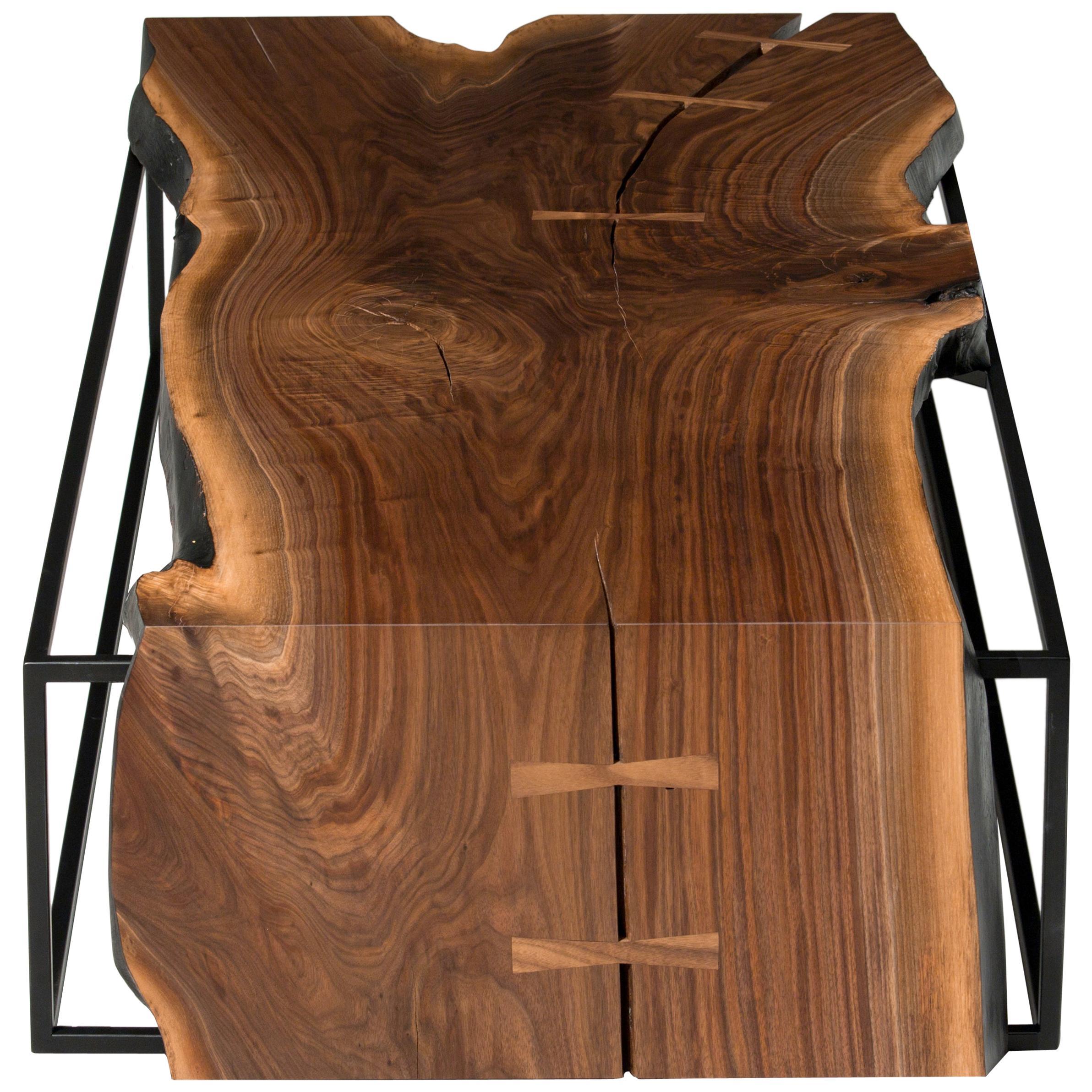 "Live Edge Walnut Slab Coffee Table on Matte Black Base ""Farnsworth Coffee Table"""