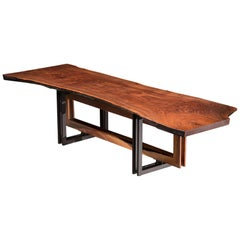 "Live Edge Walnut Slab on Black Steel and Solid Walnut Base ""Alter Dining Table"""
