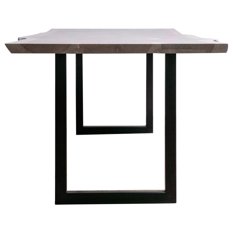 Live Edge White Oak Table Gray Finish on Modern Black Steel Square Base