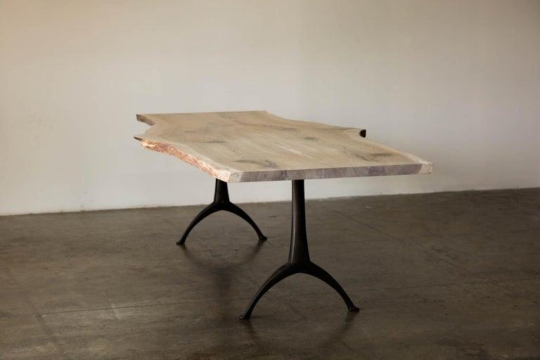 Live Edge White Oak Table Pewter Inlays Hand Cast Black Steel Pedestal Base For Sale 4