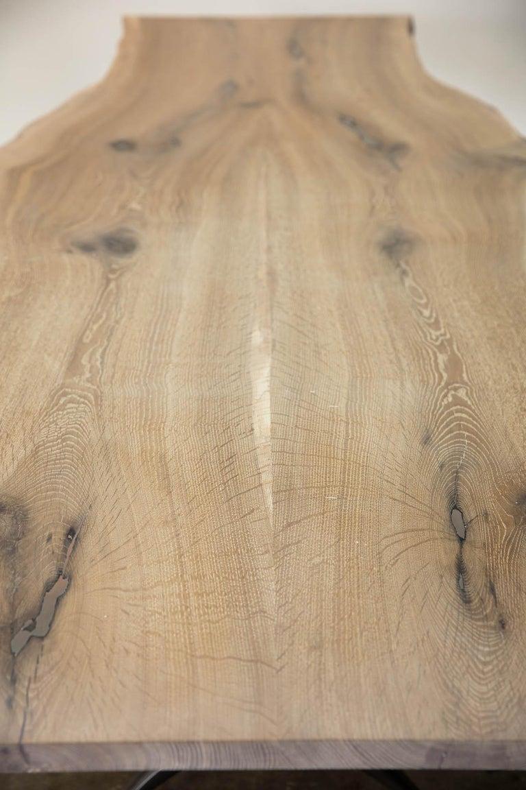 Live Edge White Oak Table Pewter Inlays Hand Cast Black Steel Pedestal Base For Sale 6