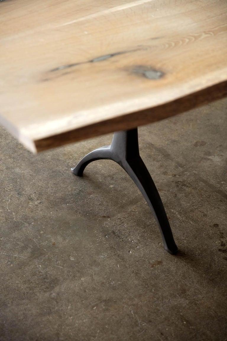 Live Edge White Oak Table Pewter Inlays Hand Cast Black Steel Pedestal Base For Sale 7