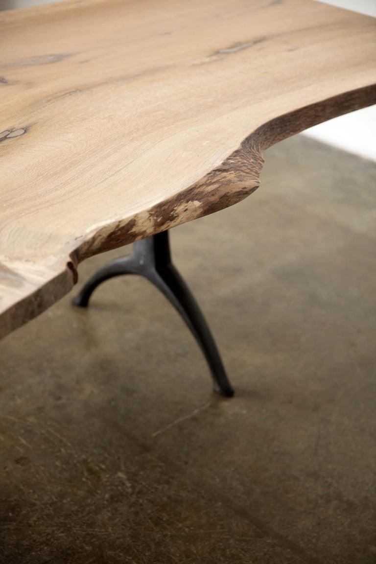 Live Edge White Oak Table Pewter Inlays Hand Cast Black Steel Pedestal Base For Sale 8