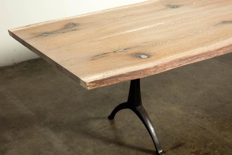 American Craftsman Live Edge White Oak Table Pewter Inlays Hand Cast Black Steel Pedestal Base For Sale