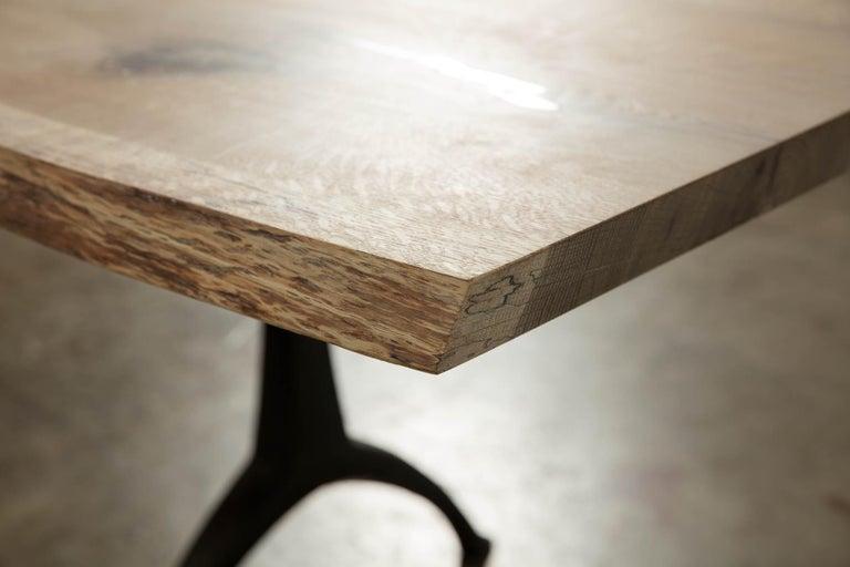 Woodwork Live Edge White Oak Table Pewter Inlays Hand Cast Black Steel Pedestal Base For Sale