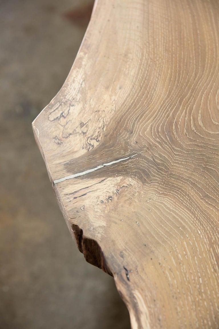 Live Edge White Oak Table Pewter Inlays Hand Cast Black Steel Pedestal Base For Sale 3