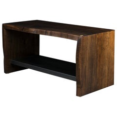 Live Edge Wood Bench by Ambrozia, Oxidized Ambrosia Maple & Blackened Steel