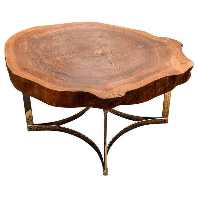 Live Edge Wood Slab Coffee Table on a Modernist Chrome Base by Jean Hubeaux For Sale