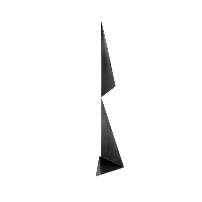 Modern Abstract Origami Metal Sculpture Figure Hand Blackened Finish On Hand For Sale