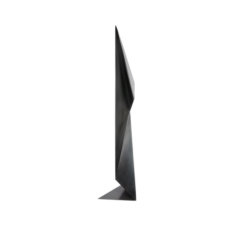 American Abstract Origami Metal Sculpture Figure Hand Blackened Finish On Hand For Sale