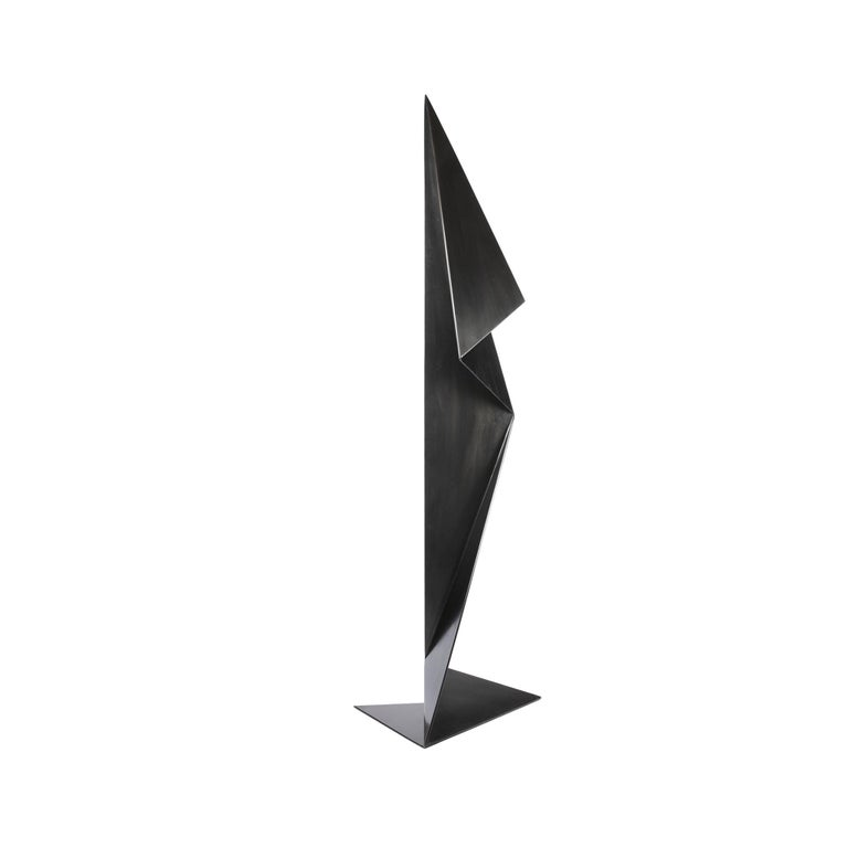 Abstract Origami Metal Sculpture Figure Hand Blackened Finish On Hand In New Condition For Sale In Seattle, WA