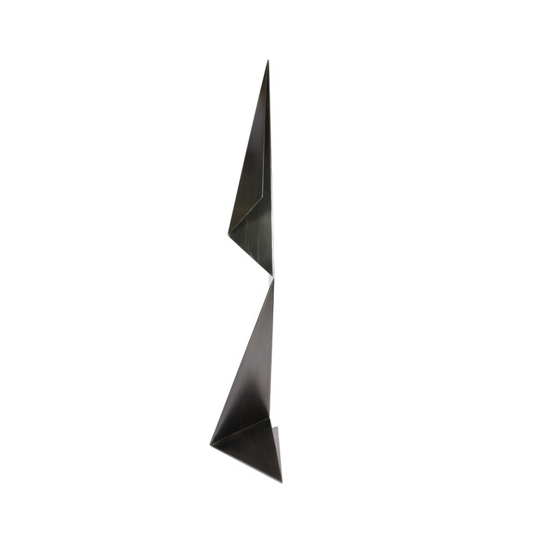 Contemporary Abstract Origami Metal Sculpture Figure Hand Blackened Finish On Hand For Sale