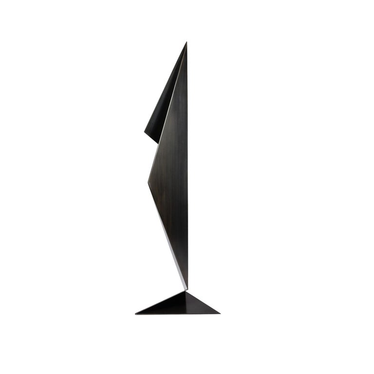 Abstract Origami Metal Sculpture Figure Hand Blackened Finish On Hand For Sale 1