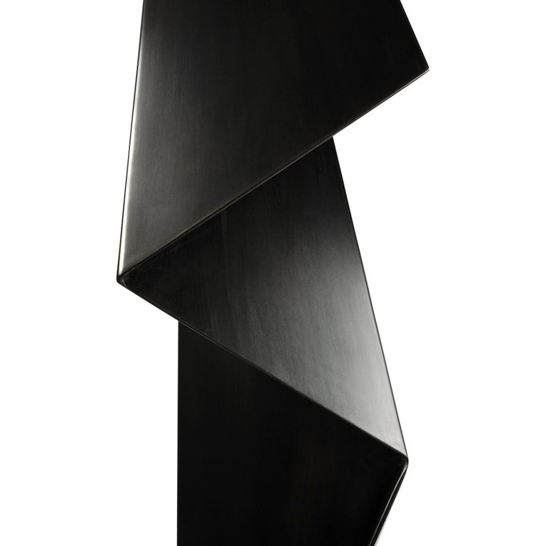 Abstract Origami Metal Sculpture Figure Hand Blackened Finish On Hand For Sale 2