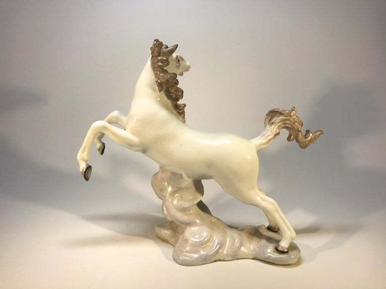 Glazed Lively Continental White Porcelain Hand Painted Prancing Horse Figure Samson For Sale
