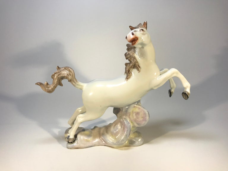 20th Century Lively Continental White Porcelain Hand Painted Prancing Horse Figure Samson For Sale