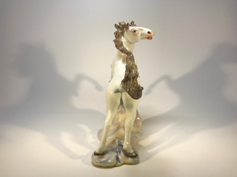 Lively Continental White Porcelain Hand Painted Prancing Horse Figure Samson For Sale 2