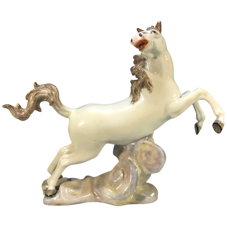 Lively Continental White Porcelain Hand Painted Prancing Horse Figure Samson For Sale