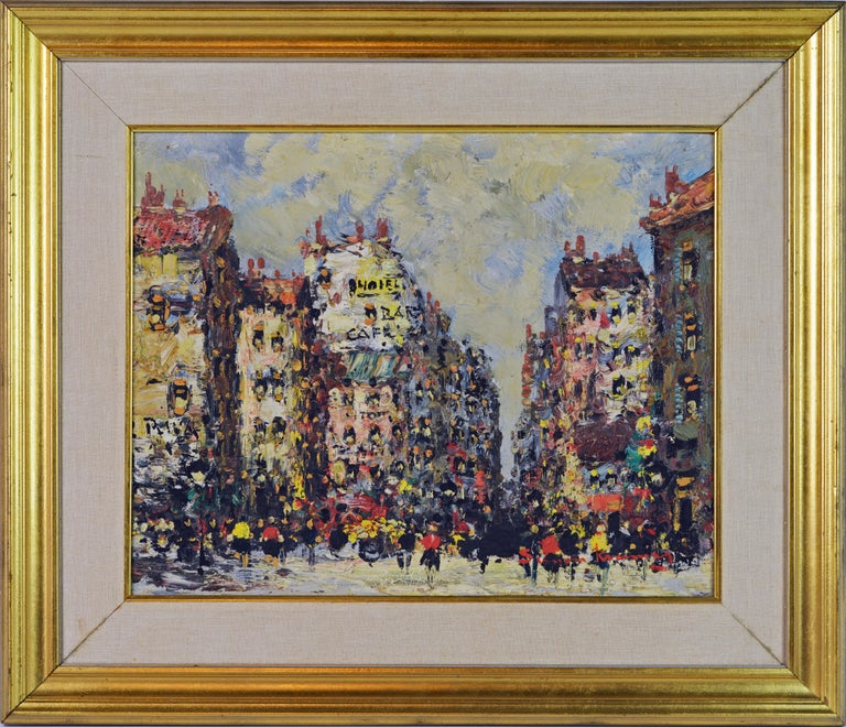 With a colorful palette and subtle impasto Simon Kramer creates the entire atmosphere of a Paris street with people moving among the buildings, some with hotels, some with cafes and the street with the hustling and bustling we love in Paris. Simon