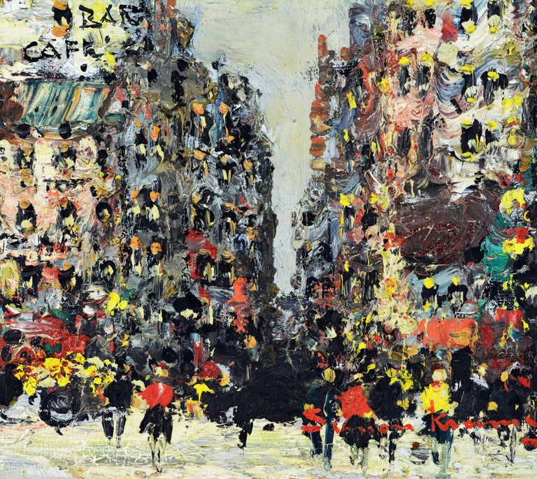 Modern Lively Impressionist Style Paris Street Painting by Simon Kramer Dutch 1940-2015 For Sale