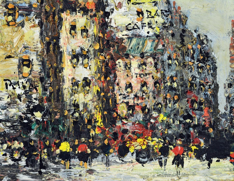 Gilt Lively Impressionist Style Paris Street Painting by Simon Kramer Dutch 1940-2015 For Sale