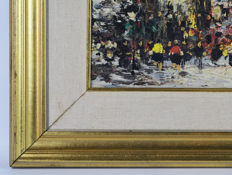 Lively Impressionist Style Paris Street Painting by Simon Kramer Dutch 1940-2015 In Good Condition For Sale In Ft. Lauderdale, FL