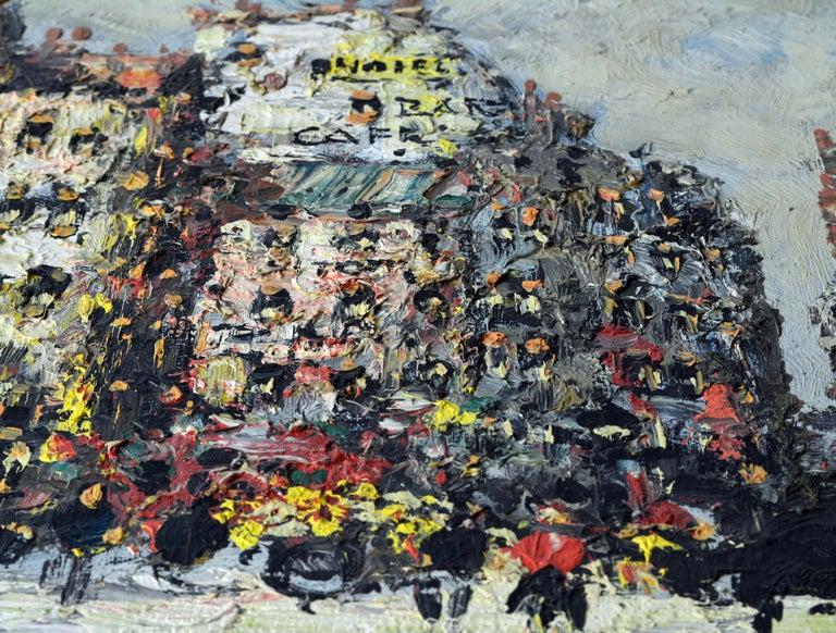 Canvas Lively Impressionist Style Paris Street Painting by Simon Kramer Dutch 1940-2015 For Sale