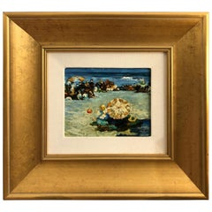 Lively Post Impressionist Style Beach Scene