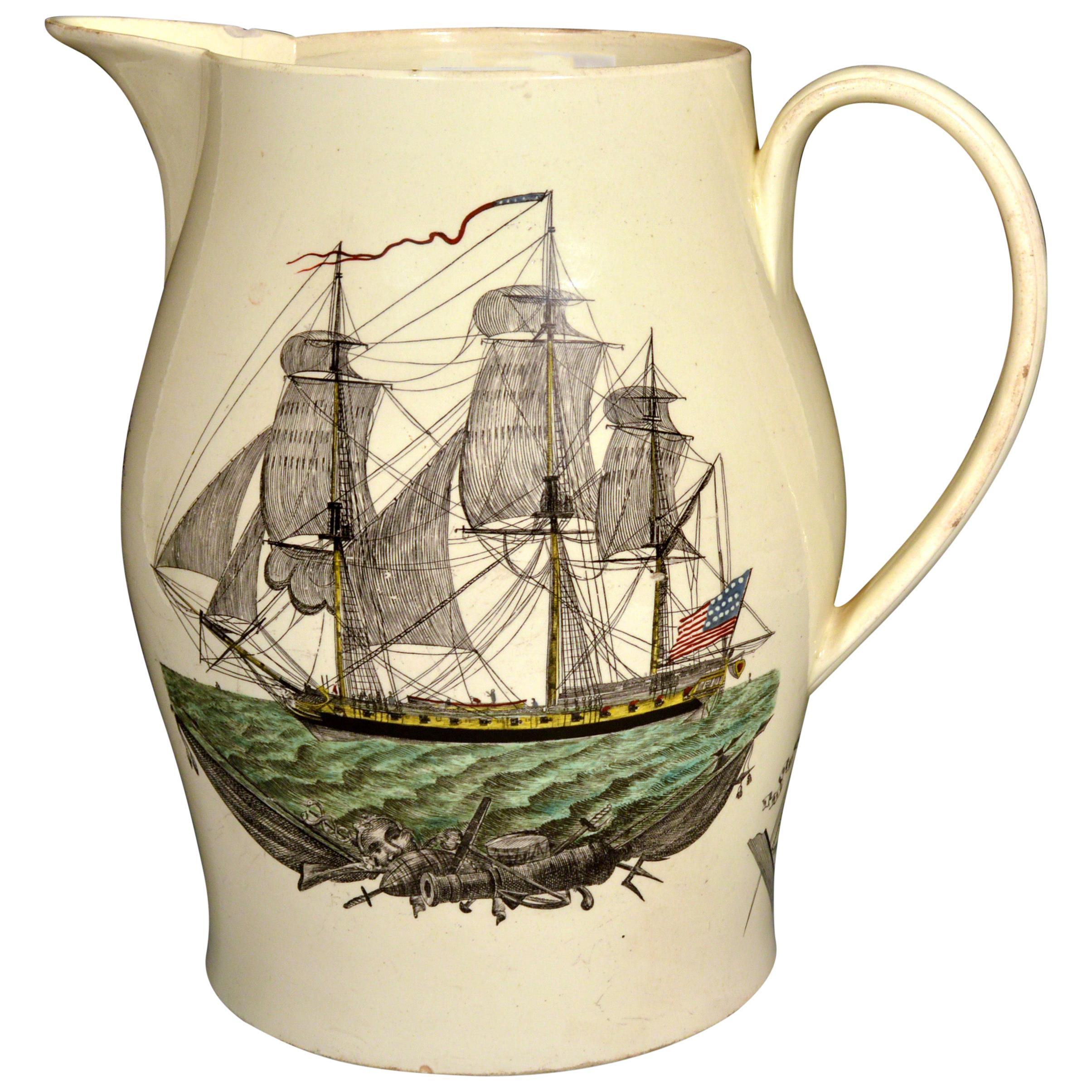 Liverpool Creamware American Ship Jug, Possibly Herculaneum Pottery, Liverpool