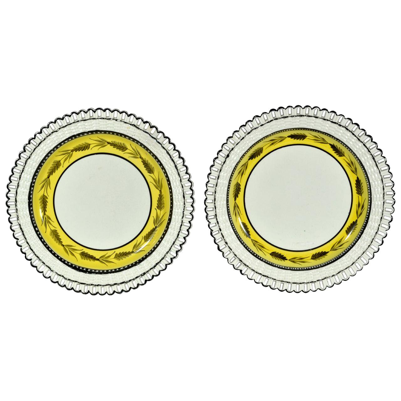 Liverpool Herculaneum Yellow-Banded Openwork Creamware Dessert Dishes